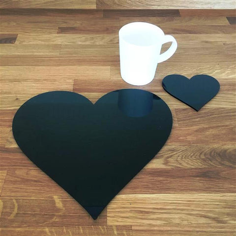 Heart Shaped Placemat and Coaster Set - Black