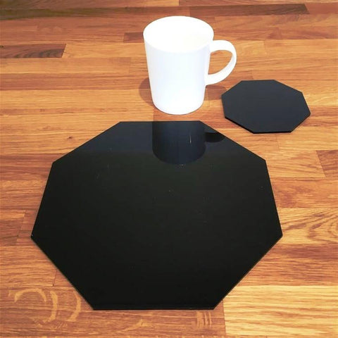 Octagonal Placemat and Coaster Set - Black