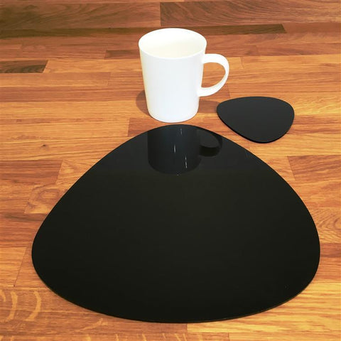 Pebble Shaped Placemat and Coaster Set - Black