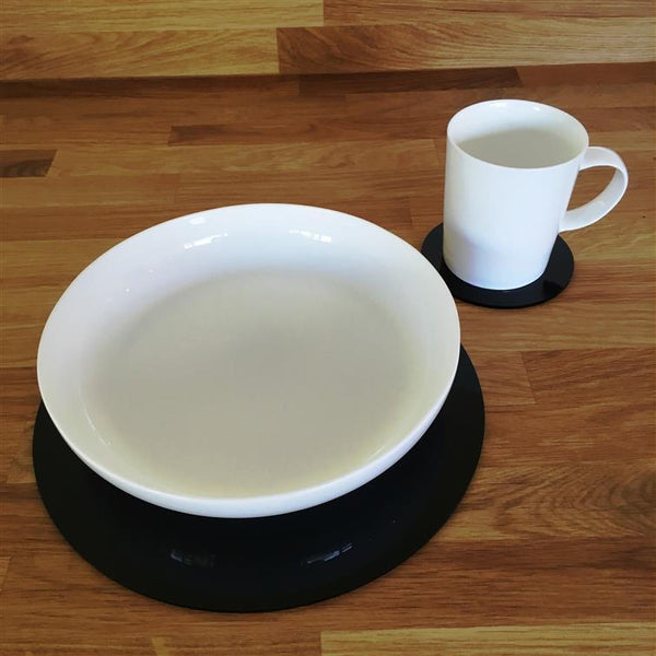 Round Placemat and Coaster Set - Black