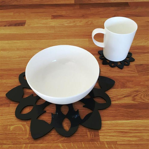 Snowflake Shaped Placemat and Coaster Set - Black