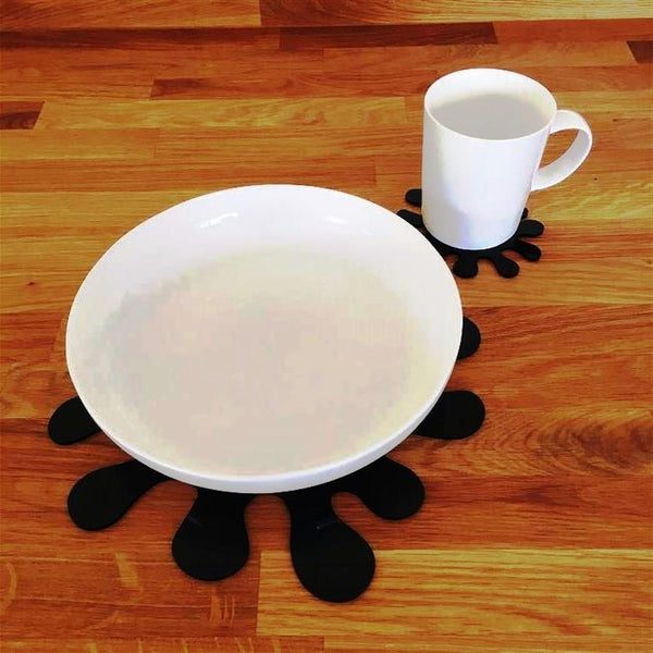 Splash Shaped Placemat and Coaster Set - Black