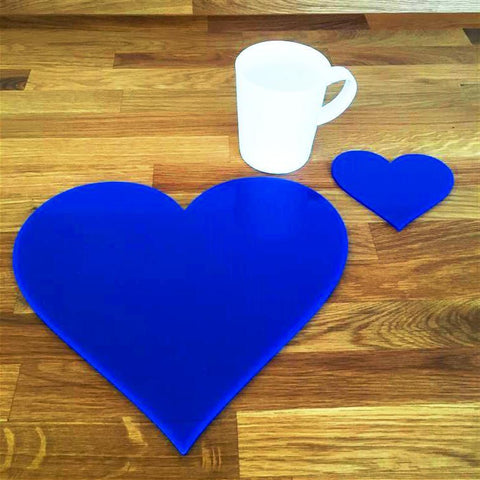 Heart Shaped Placemat and Coaster Set - Blue