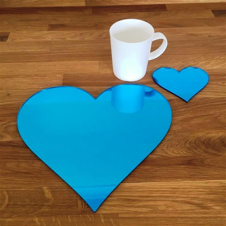 Heart Shaped Placemat and Coaster Set - Blue Mirror