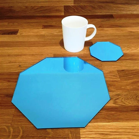 Octagonal Placemat and Coaster Set - Blue Mirror