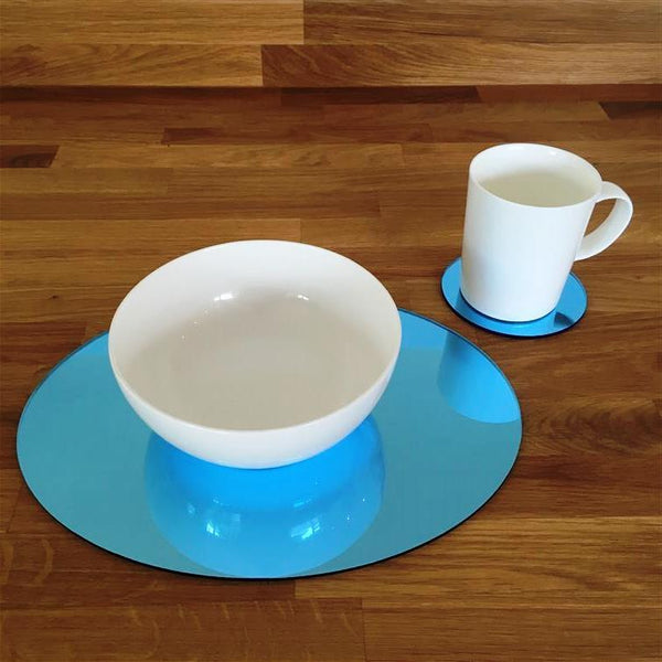 Oval Placemat and Coaster Set - Blue Mirror