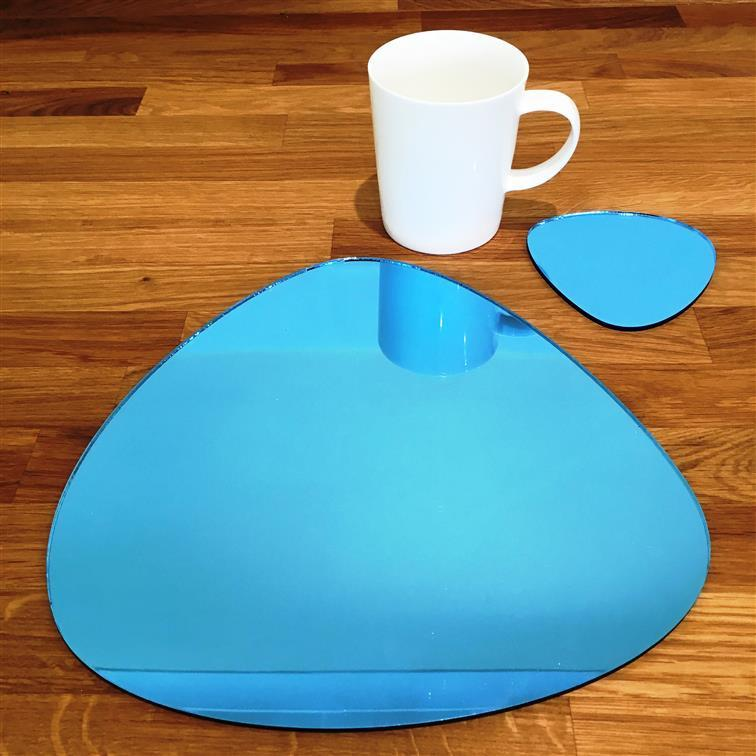 Pebble Shaped Placemat and Coaster Set - Blue Mirror