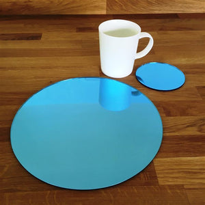 Round Placemat and Coaster Set - Blue Mirror