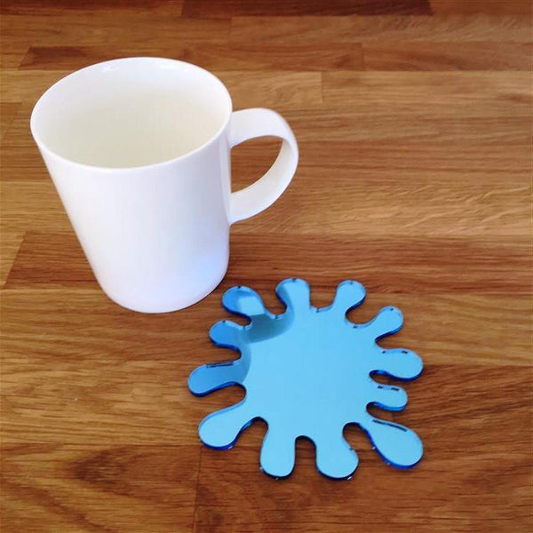 Splash Shaped Coaster Set - Blue Mirror