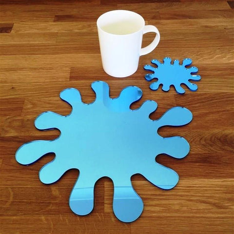 Splash Shaped Placemat and Coaster Set - Blue Mirror
