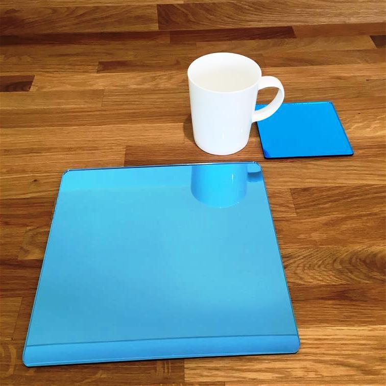 Square Placemat and Coaster Set - Blue Mirror