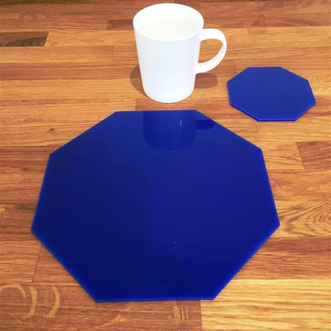 Octagonal Placemat and Coaster Set - Blue