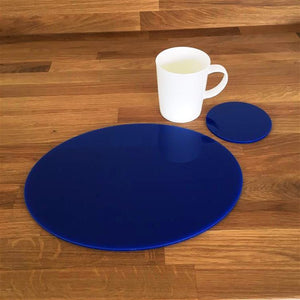 Oval Placemat and Coaster Set - Blue