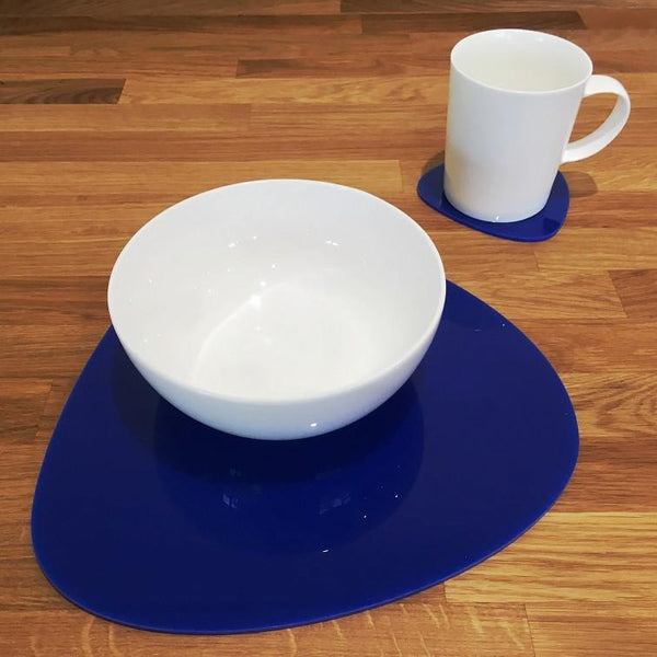 Pebble Shaped Placemat and Coaster Set - Blue