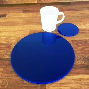 Round Placemat and Coaster Set - Blue