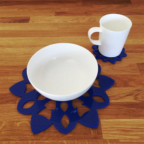 Snowflake Shaped Placemat and Coaster Set - Blue