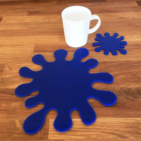 Splash Shaped Placemat and Coaster Set - Blue