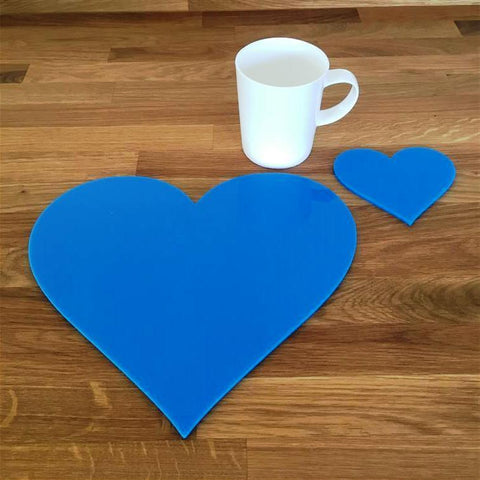 Heart Shaped Placemat and Coaster Set - Bright Blue