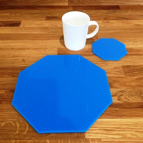 Octagonal Placemat and Coaster Set - Bright Blue