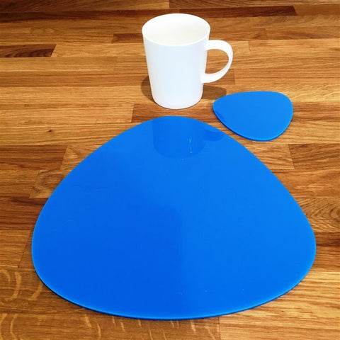 Pebble Shaped Placemat and Coaster Set - Bright Blue