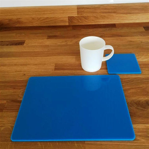 Rectangular Placemat and Coaster Set - Bright Blue