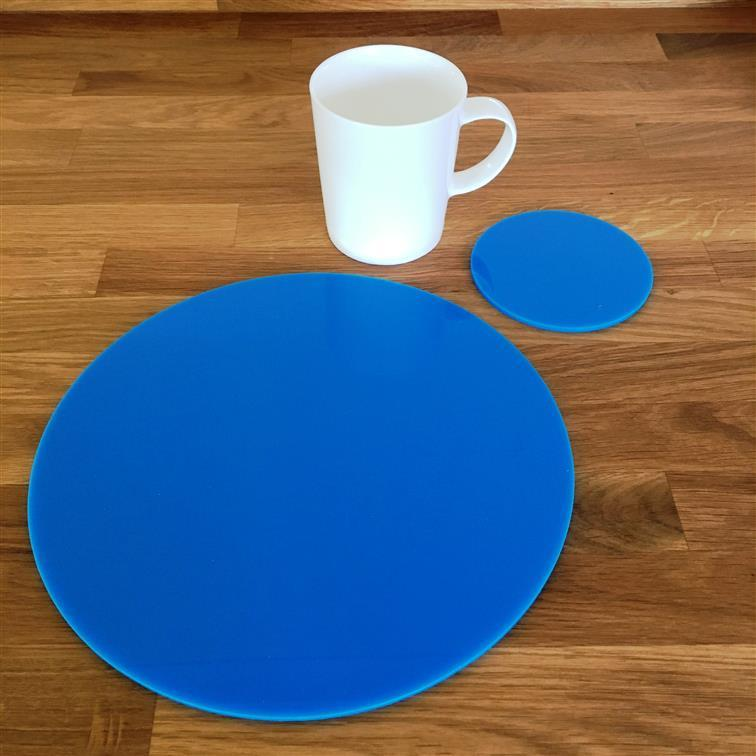 Round Placemat and Coaster Set - Bright Blue