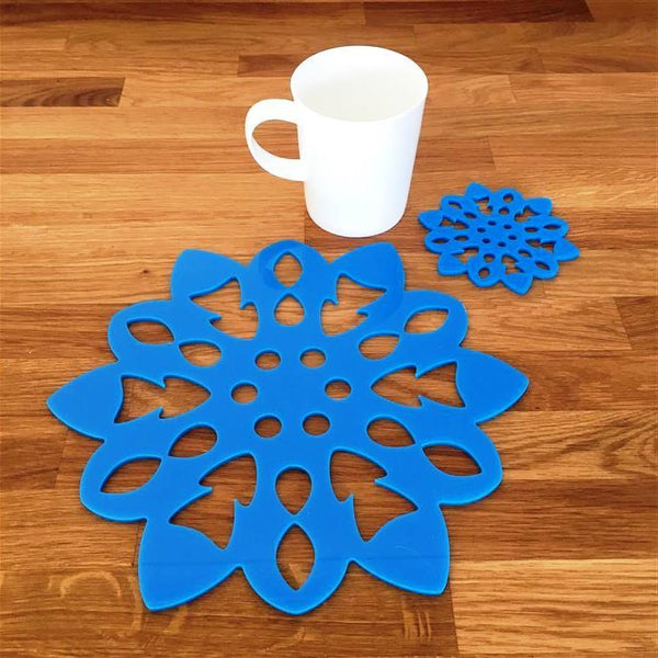 Snowflake Shaped Placemat and Coaster Set - Bright Blue