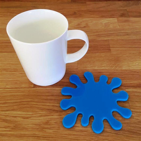 Splash Shaped Coaster Set - Bright Blue