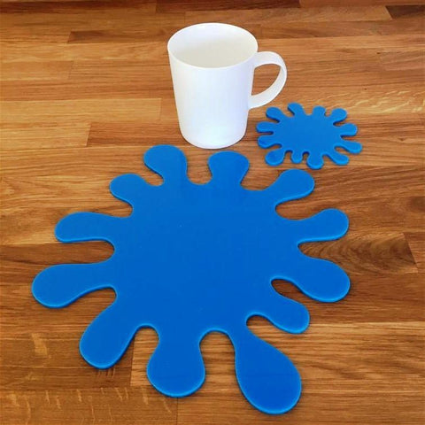 Splash Shaped Placemat and Coaster Set - Bright Blue
