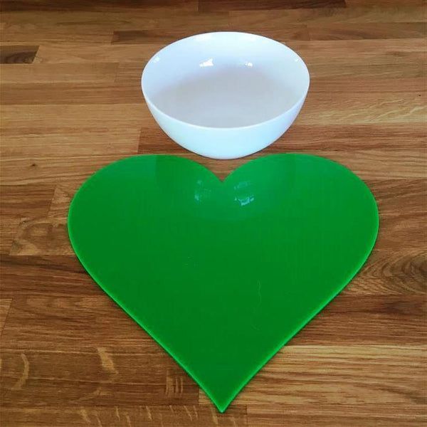 Heart Shaped Placemat Set - Bright Green