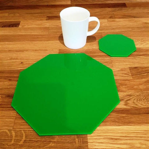 Octagonal Placemat and Coaster Set - Bright Green