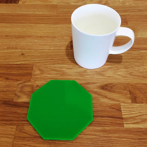 Octagonal Coaster Set - Bright Green