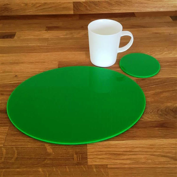 Oval Placemat and Coaster Set - Bright Green