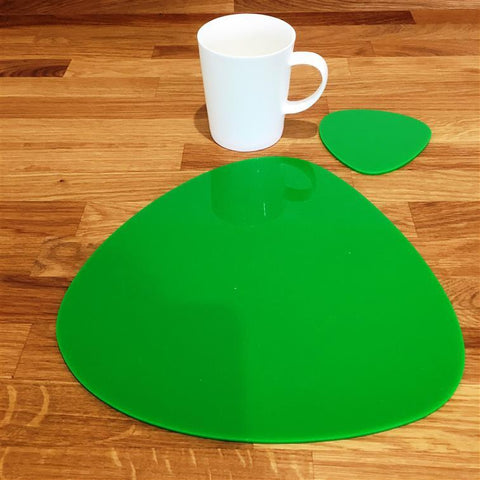 Pebble Shaped Placemat and Coaster Set - Bright Green