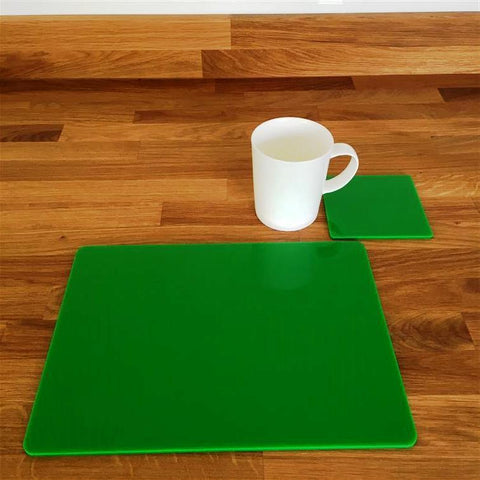 Rectangular Placemat and Coaster Set - Bright Green