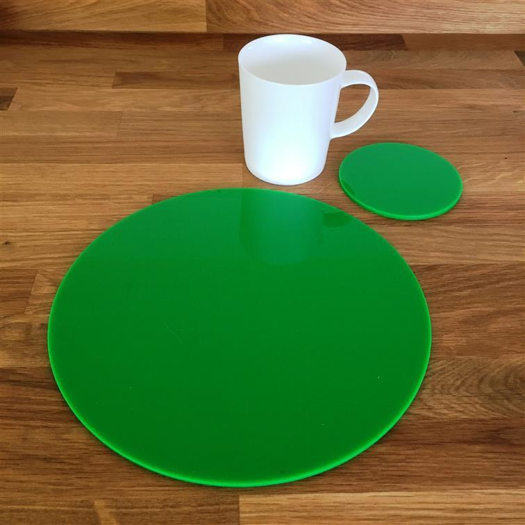 Round Placemat and Coaster Set - Bright Green