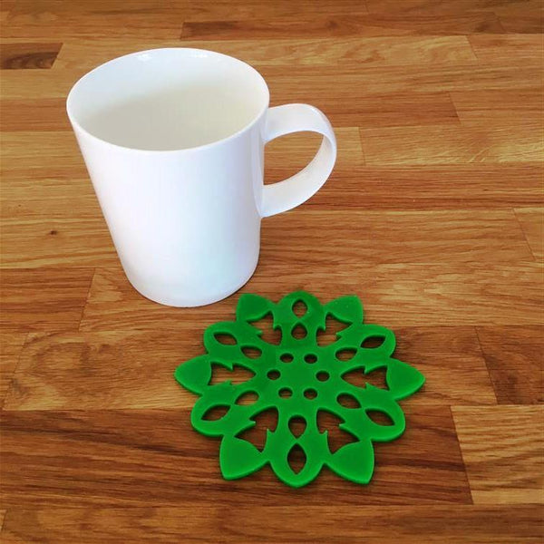 Snowflake Shaped Coaster Set - Bright Green