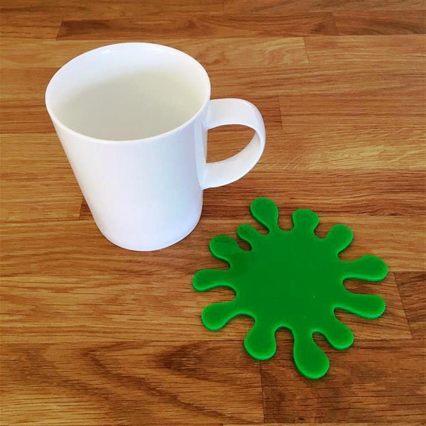 Splash Shaped Coaster Set - Bright Green