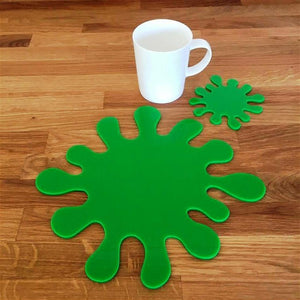 Splash Shaped Placemat and Coaster Set - Bright Green