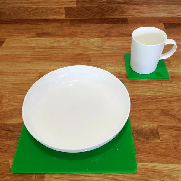 Square Placemat and Coaster Set - Bright Green