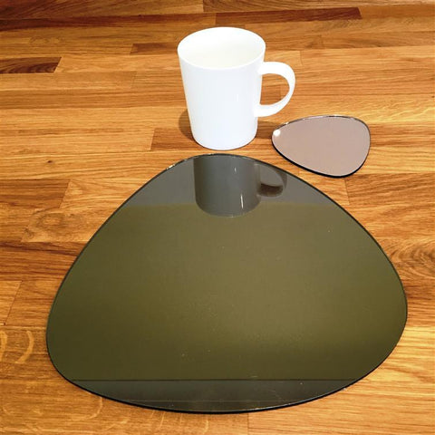 Pebble Shaped Placemat and Coaster Set - Bronze Mirror