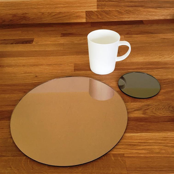 Round Placemat and Coaster Set - Bronze Mirror