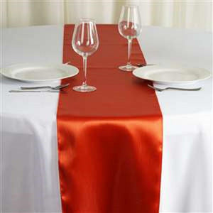 Burnt Orange Satin Table Runner