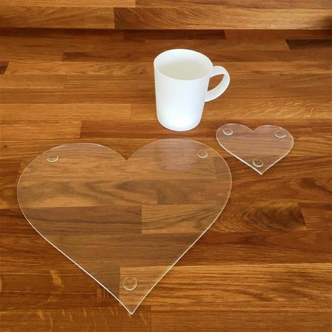 Heart Shaped Placemat and Coaster Set - Clear