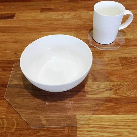 Octagonal Placemat and Coaster Set - Clear