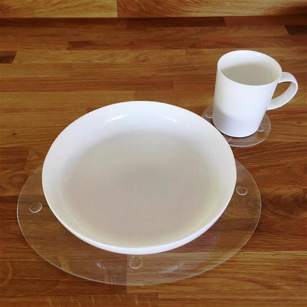 Oval Placemat and Coaster Set - Clear