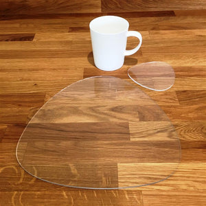 Pebble Shaped Placemat and Coaster Set - Clear