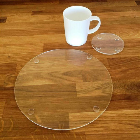 Round Placemat and Coaster Set - Clear