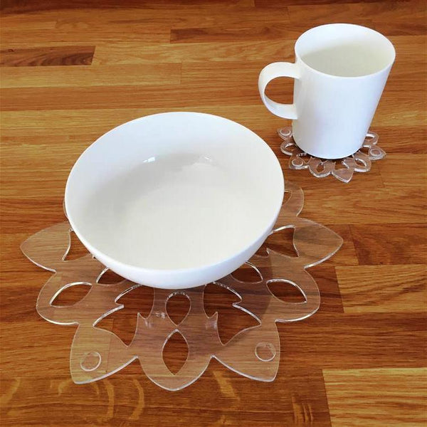 Snowflake Shaped Placemat and Coaster Set - Clear