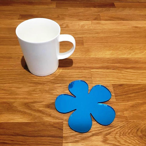 Daisy Shaped Coaster Set - Blue Mirror